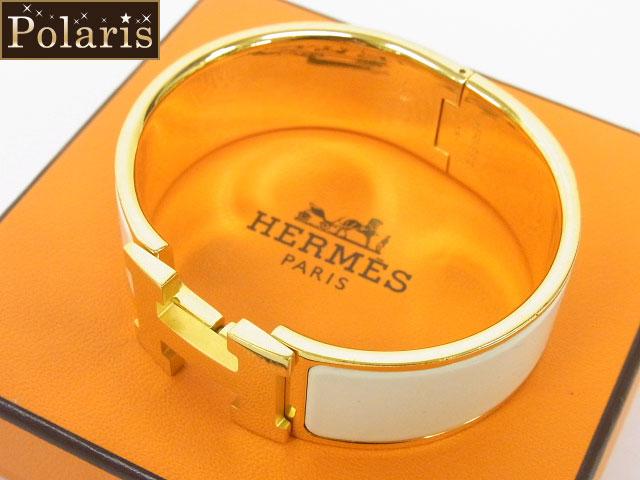 HERMES(エルメス)【本物】Hバングル/白×ゴールド/K刻印