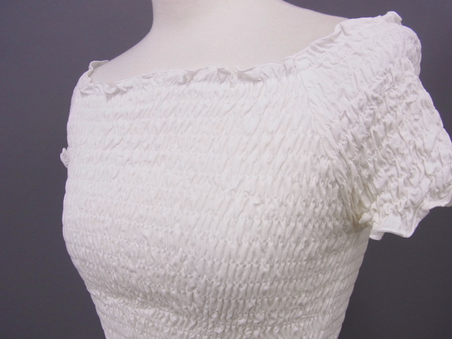 ミシェルマカロン リボン付き半袖トップス ホワイト XS